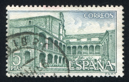 SPAIN - CIRCA 1965: stamp printed by Spain, shows Yuste Monastery, View of monastery, circa 1965 Stock Photo - 17146133