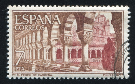 SPAIN - CIRCA 1977: stamp printed by Spain, shows San Pedro Monastery, Cardena, Burgos, Cloister, circa 1977 Stock Photo - 17145642