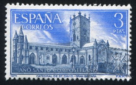 SPAIN - CIRCA 1971: stamp printed by Spain, shows Cathedral of St. David, Wales, circa 1971 Stock Photo - 17145835
