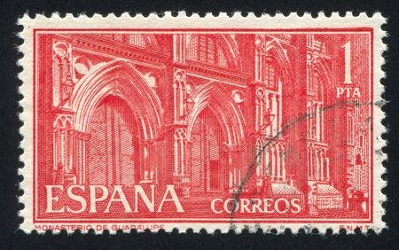 SPAIN - CIRCA 1959: stamp printed by Spain, shows Monastery of Guadalupe, Portals, circa 1959 Stock Photo - 17146168