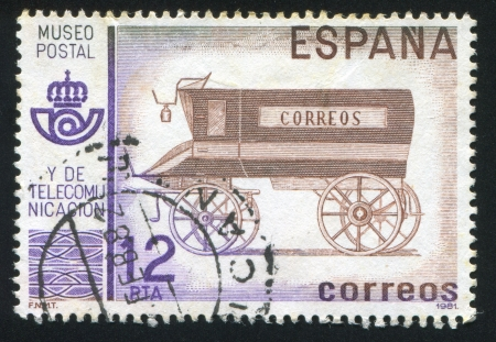 SPAIN - CIRCA 1981: stamp printed by Spain, shows Coach, circa 1981 Stock Photo - 17145342
