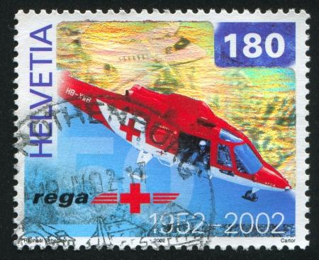 SZWAJCARIA - CIRCA 2002: Stempel drukowane przez Szwajcarię, pokazuje Rega air rescue fundacja, circa 2002