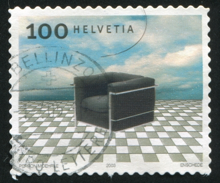 SWITZERLAND - CIRCA 2003: stamp printed by Switzerland, shows Le Fauteuil Grand Confort desugned by Le Corbusier, circa 2003 Stock Photo - 17145595