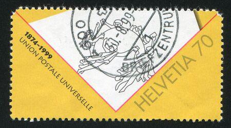 upu: SWITZERLAND - CIRCA 1999: stamp printed by Switzerland, shows UPU emblem, circa 1999