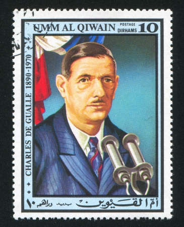 UMM AL-QUWAIN - CIRCA 1972: stamp printed by Umm al-Quwain, shows Charles de Gualle, circa 1972 Stock Photo - 17145765