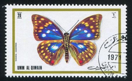 UMM AL-QUWAIN - CIRCA 1972: stamp printed by Umm al-Quwain, shows Japanese emperor butterfly, circa 1972 Stock Photo - 17145283