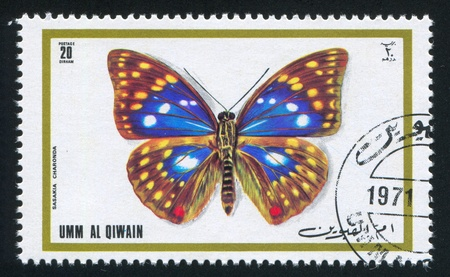 UMM AL-QUWAIN - CIRCA 1972: stamp printed by Umm al-Quwain, shows Japanese emperor butterfly, circa 1972