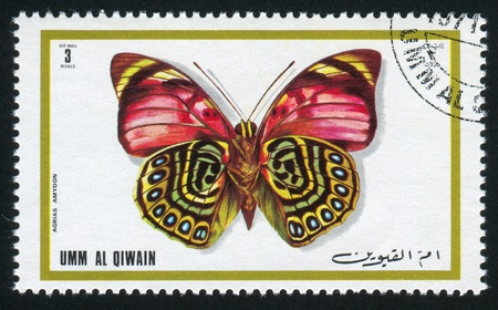 UMM AL-QUWAIN - CIRCA 1972: stamp printed by Umm al-Quwain, shows Japanese emperor butterfly, circa 1972 Stock Photo - 17145270