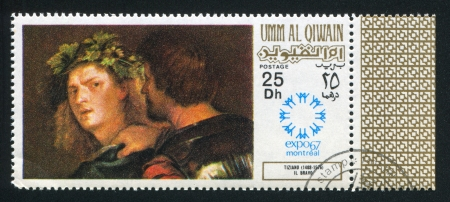 UMM AL-QUWAIN - CIRCA 1967: stamp printed by Umm al-Quwain, shows  Bravo by Tizian, circa 1967 Stock Photo - 17145639