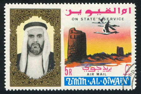UMM AL-QUWAIN - CIRCA 1972: stamp printed by Umm al-Quwain, shows Sheikh and Geese, circa 1972 Stock Photo - 17145425