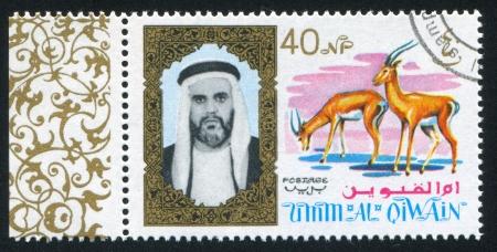 umm: UMM AL-QUWAIN - CIRCA 1972: stamp printed by Umm al-Quwain, shows Sheikh and Antelope, circa 1972