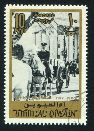 UMM AL-QUWAIN - CIRCA 1972: stamp printed by Umm al-Quwain, shows a Procession, circa 1972 Stock Photo - 17145572