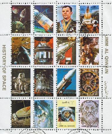 UMM AL-QUWAIN - CIRCA 1972: stamp printed by Umm al-Quwain, shows Spaceships and Astronauts, circa 1972 Stock Photo - 17146159