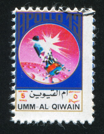 UMM AL-QUWAIN - CIRCA 1972: stamp printed by Umm al-Quwain, shows Apollo 13, circa 1972 Stock Photo - 17145277