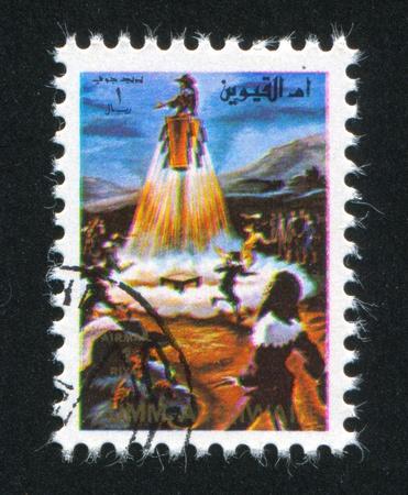 umm: UMM AL-QUWAIN - CIRCA 1972: stamp printed by Umm al-Quwain, shows Flying basket, circa 1972 Editorial