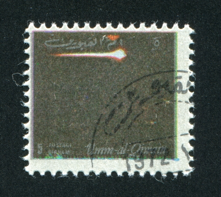 UMM AL-QUWAIN - CIRCA 1972: stamp printed by Umm al-Quwain, shows a Spaceship, circa 1972 Stock Photo - 17145669