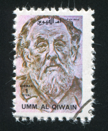 UMM AL-QUWAIN - CIRCA 1972: stamp printed by Umm al-Quwain, shows Konstantin Tsiolkovsky, circa 1972 Stock Photo - 17145564