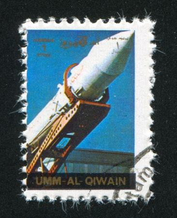 umm: UMM AL-QUWAIN - CIRCA 1972: stamp printed by Umm al-Quwain, shows Soviet Rocket, circa 1972 Editorial