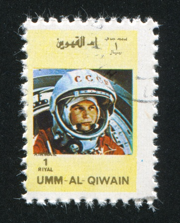 UMM AL-QUWAIN - CIRCA 1972: stamp printed by Umm al-Quwain, shows Valentina Tereshkova, circa 1972 Stock Photo - 17145517