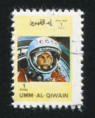 tereshkova: Umm al-Quwain - CIRCA 1972: timbro stampato dalla Umm al-Quwain, mostra Valentina Tereshkova, circa 1972