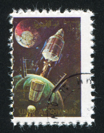 UMM AL-QUWAIN - CIRCA 1972: stamp printed by Umm al-Quwain, shows Gemini Spacecraft, circa 1972
