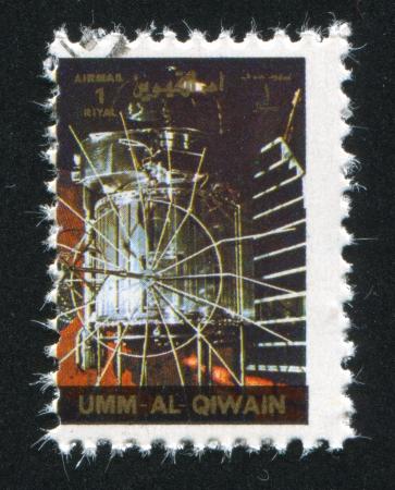 UMM AL-QUWAIN - CIRCA 1972: stamp printed by Umm al-Quwain, shows Gemini Spacecraft, circa 1972 Stock Photo - 17145457