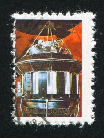 UMM AL-QUWAIN - CIRCA 1972: stamp printed by Umm al-Quwain, shows Gemini Spacecraft, circa 1972 Stock Photo - 17145598