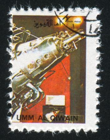 UMM AL-QUWAIN - CIRCA 1972: stamp printed by Umm al-Quwain, shows Gemini Spacecraft, circa 1972 Stock Photo - 17145428