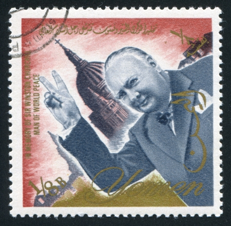 YEMEN - CIRCA 1972: stamp printed by Yemen, shows Winston Churchill, circa 1972 Stock Photo - 17145549
