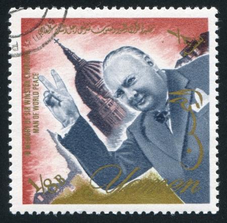 YEMEN - CIRCA 1972: stamp printed by Yemen, shows Winston Churchill, circa 1972 Stock Photo - 17145549