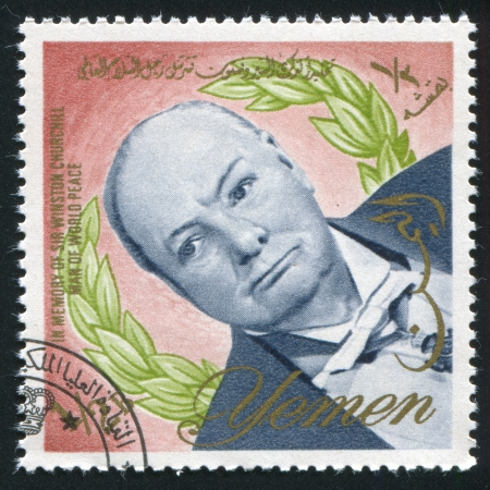 YEMEN - CIRCA 1972: stamp printed by Yemen, shows Winston Churchill, circa 1972 Stock Photo - 17145419