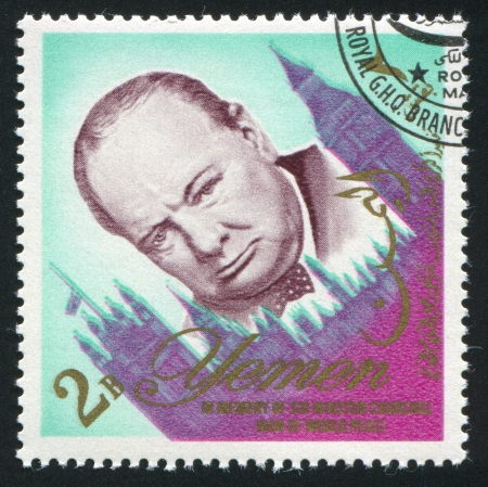 YEMEN - CIRCA 1972: stamp printed by Yemen, shows Winston Churchill, circa 1972 Stock Photo - 17145469