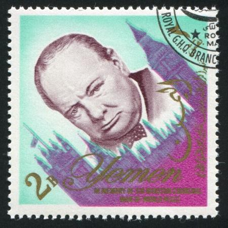 YEMEN - CIRCA 1972: stamp printed by Yemen, shows Winston Churchill, circa 1972 Stock Photo - 17145469