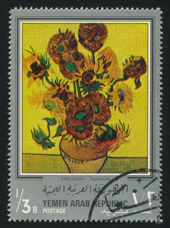 YEMEN - CIRCA 1972: stamp printed by Yemen, shows Sunflowers by Van Gogh, circa 1972