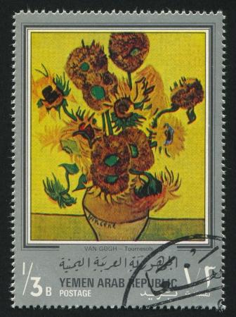 YEMEN - CIRCA 1972: stamp printed by Yemen, shows Sunflowers by Van Gogh, circa 1972
