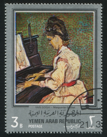 YEMEN - CIRCA 1972: stamp printed by Yemen, shows Portrait of Marguerite Gachet by Van Gogh, circa 1972 Stock Photo - 17145379