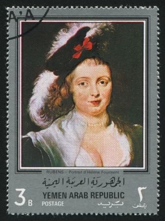 YEMEN - CIRCA 1972: stamp printed by Yemen, shows Helene Fourment by Rubens, circa 1972 Stock Photo - 17145323