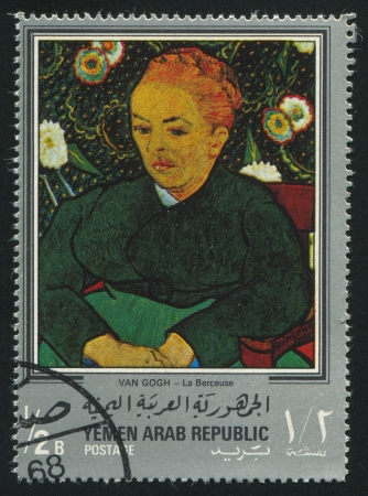 YEMEN - CIRCA 1972: stamp printed by Yemen, shows La Berceuse by Van Gogh, circa 1972 Stock Photo - 17145265