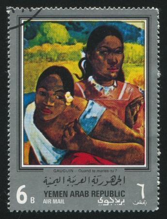 YEMEN - CIRCA 1972: stamp printed by Yemen, shows Quand te maries tu by Gauguin, circa 1972 Stock Photo - 17145468
