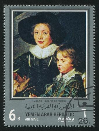 YEMEN - CIRCA 1972: stamp printed by Yemen, shows Les Fils by Rubens, circa 1972 Stock Photo - 17145273