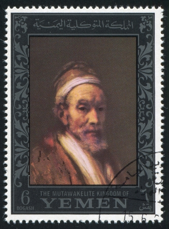 rembrandt: YEMEN - CIRCA 1972: stamp printed by Yemen, shows Portrait by Rembrandt, circa 1972 Editorial