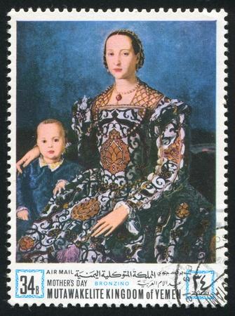 YEMEN - CIRCA 1972: stamp printed by Yemen, shows Eleanor of Toledo by Bronzino, circa 1972 Stock Photo - 17145308