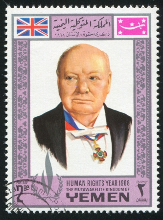 YEMEN - CIRCA 1968: stamp printed by Yemen, shows Winston Churchill, circa 1968 Stock Photo - 17145223