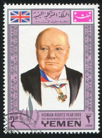 YEMEN - CIRCA 1968: stamp printed by Yemen, shows Winston Churchill, circa 1968 Stock Photo - 17145223
