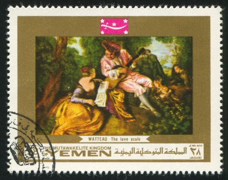 YEMEN - CIRCA 1972: stamp printed by Yemen, shows The Love Scale by Watteau, circa 1972 Stock Photo - 17145215