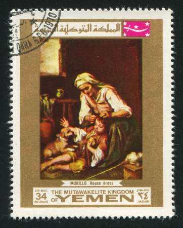 YEMEN - CIRCA 1972: stamp printed by Yemen, shows House Dress by Murillo, circa 1972 Stock Photo - 17145220