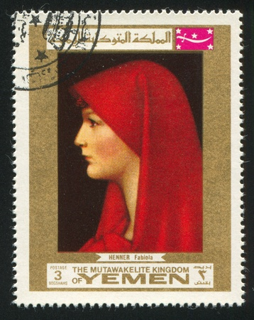 YEMEN - CIRCA 1972: stamp printed by Yemen, shows Portrait of Fabiola by Jean Jacques Henner, circa 1972 Stock Photo - 17145214