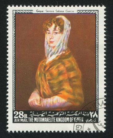 garcia: YEMEN - CIRCA 1972: stamp printed by Yemen, shows Senora Sabasa Garcia by Goya, circa 1972