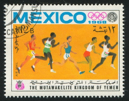 YEMEN - CIRCA 1968: stamp printed by Yemen, shows sprint, circa 1968 Stock Photo - 17145211
