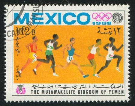 YEMEN - CIRCA 1968: stamp printed by Yemen, shows sprint, circa 1968 Stock Photo - 17145211